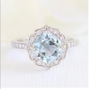 Vintage 14k Floral ring w/ Aquamarine and Diamonds